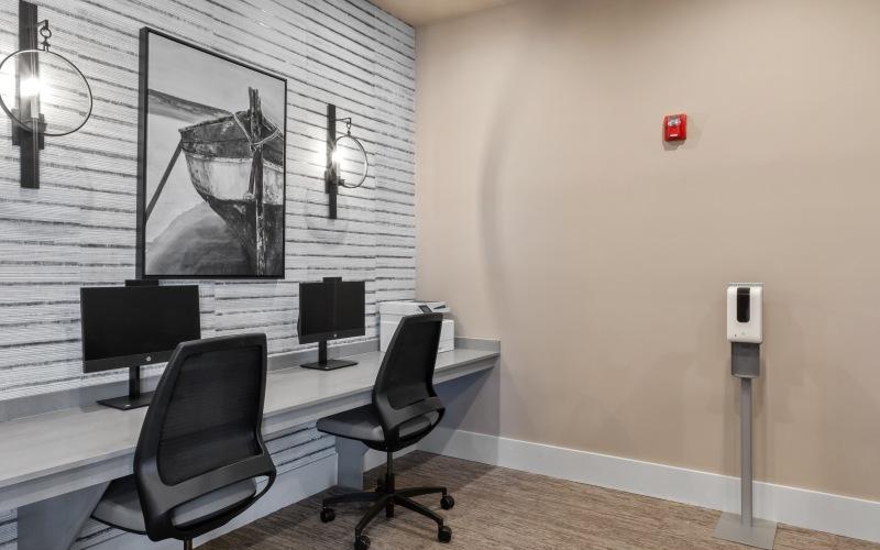 computer lounge with desktop computers and desks